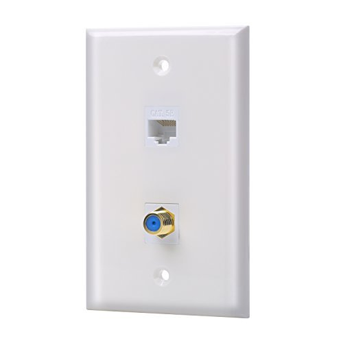 (IBL-1 Cat5e keystone Ethernet Port and 1 Gold-plated Coax F Type keystone Wall Plate (White))