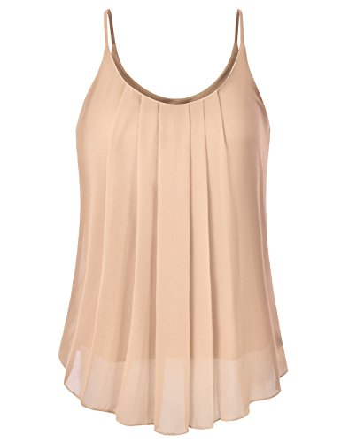 EIMIN Women's Pleated Chiffon Layered Sleeveless Cami Tank Tunic Top Taupe 2XL