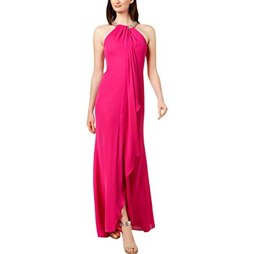 Calvin Klein Womens Halter Embellished Evening Dress Pink 2