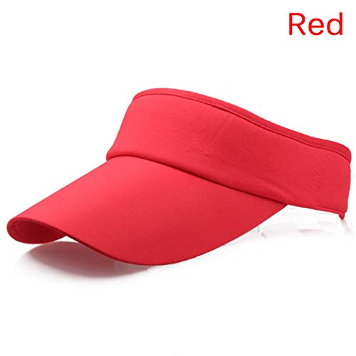 919c855f96a674 Cookisn Hat Cotton Blend Tennis Hat Sports Wide Solid Sun Visor Hat Cap Red