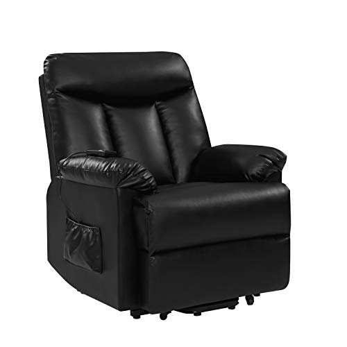 Domesis Renu Leather Wall Hugger Power Lift Chair Recliner, Black Renu Leather