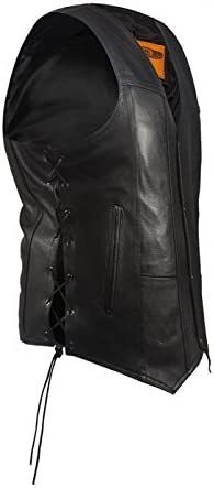 Mens Plain Leather Vest With Gun Pockets (Size LG, 44)