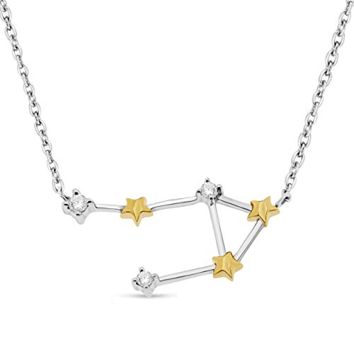 NATALIA DRAKE Celestial Star Horoscope Diamond Pendant Astrological Signs Two Tone Sterling Silver ()