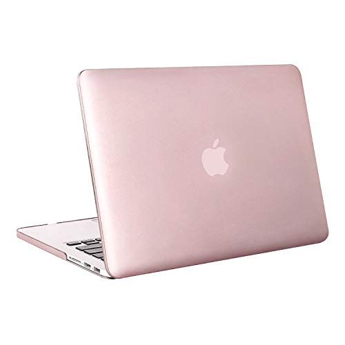 MOSISO Case Only Compatible with Older Version MacBook Pro Retina 13 inch (Models: A1502 & A1425) (Release 2015 - end 2012), Plastic Hard Shell Case & Keyboard Cover & Screen Protector, Rose Gold