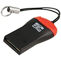 Teflon Single Slot Mini Micro SD to USB 2.0 Memory Card Reader M2 T-Flash SDHC Adapter for PC and Mac (Black and Red)