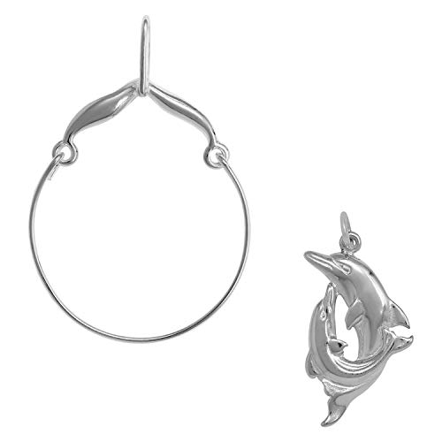 Raposa Elegance Sterling Silver Double Dolphin Charm on a Curved Style Charm Holder