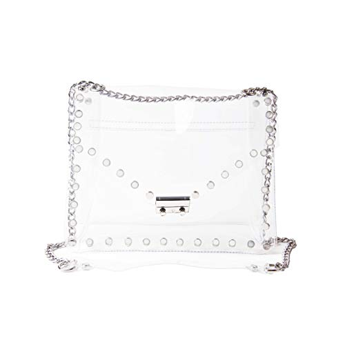 (Ynport Clear Revit PVC Cross Body Bag Transparent Clutch Messenger Handbag Tote Shoulder Bag)