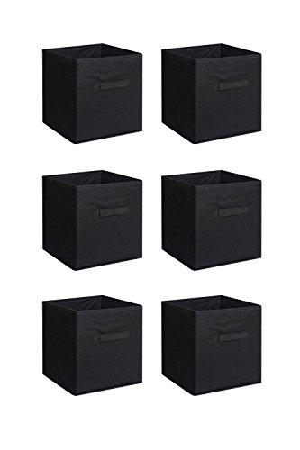 Galvanized Storage Cube - 6 PCS New Home Storage Bins Organizer Fabric Cube Boxes Basket Drawer Container - Black + FREE E - Book