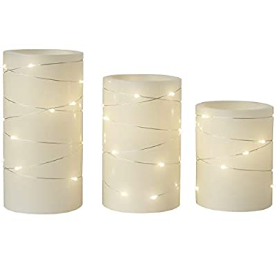 Laura Ashley 3-Piece Flickering LED Candle Set with Daily Timer, Flameless Candles, Real Wax, Battery Powered, Electric Candlelight Dances and Flickers, Embedded String Lights Stay Lit, Tiered Pillars