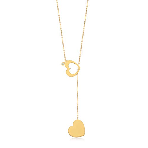 Open Heart Lariat Necklace - Gelin 14k Solid Gold 0,01 ct Diamond Double Heart Lariat Layering Y Necklace | Certified Gold Heart Necklace for Women