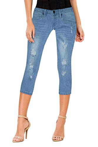 Women's Butt Lift Super Comfy Stretch Denim Capri Jeans Q37351 Medium was 3 (Denim Butt Lift)