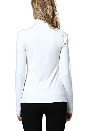 Tapas de Irregular camiseta Casual de cuello alto de las mujeres White