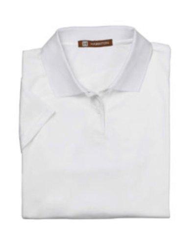 Harriton Ladies' 4 oz. Polytech Polo 2XL White