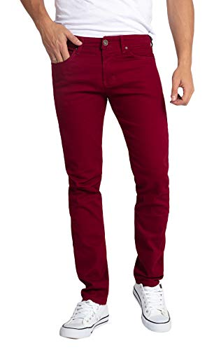 WULFUL Men's Skinny Slim Fit Stretch Straight Leg Jeans/Wine Red/30Wx31L ()