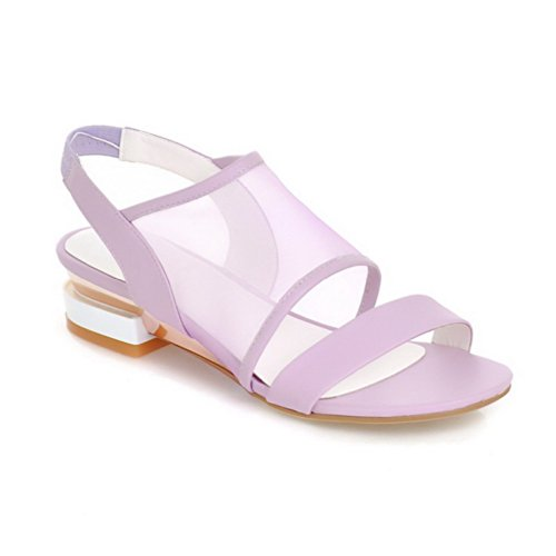 VogueZone009 Womens Open Toe Low Heel Mesh Soft Material Solid Sandals, Purple, 3.5 UK