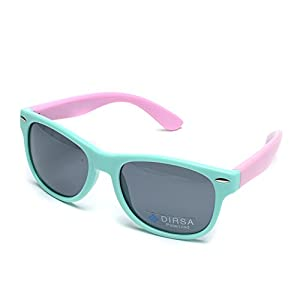 DIRSA Rubber Flexible Kids Polarized Sunglasses Glasses for Boys Girls Child Age 3-10 (Mint Green&Pink, black)