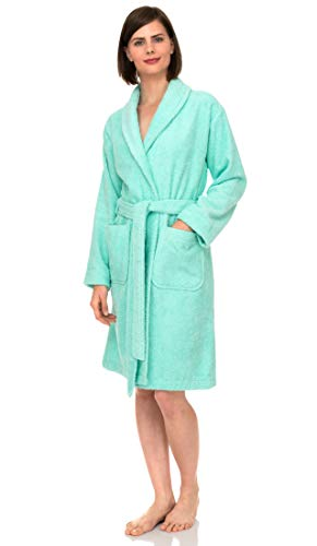 TowelSelections Women's Robe, Turkish Cotton Short Terry Bathrobe X-Large Beach Green