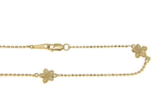 14k solid yellow gold 2 sided Hawaiian plumeria diamond cut bead chain anklet 10'' by Arthur's Jewelry (Image #1)