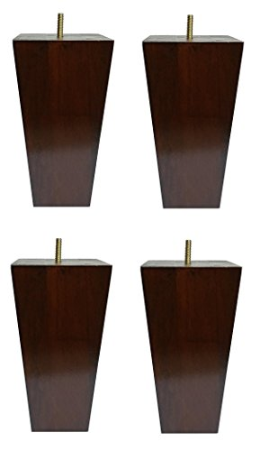 "6"" Solid Wood Furniture Sofa/Chair/Ottoman Tapered Legs Walnut Finish [5/16"" Bolt] - Set of 4"