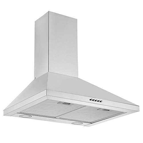 Ancona AN-1534 24 in. Wall Pyramid Convertible Range Hood, Stainless Steel