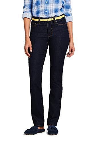 Lands End Tall Jeans - Lands' End Women's Mid Rise Straight Leg Jeans, 8 32, Deepest Indigo