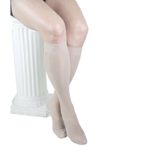 ITA-MED Sheer Knee Highs, Compression (23-30 mmHg) Nude, Medium, 2 Count