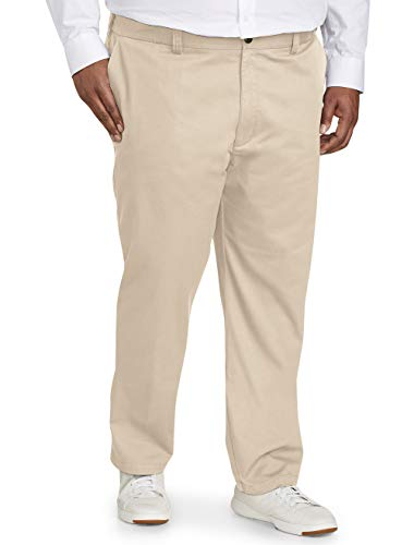 Amazon Essentials Men's Big & Tall Athletic-fit Wrinkle-Resistant Flat-Front Chino Pant fit by DXL, Khaki, 46W x 28L