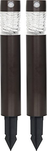 Westinghouse Stainless Steel PIR Motion Activated Solar Bollard Pathway Lights, 2 Pack, Coffee (Steel Bollard)