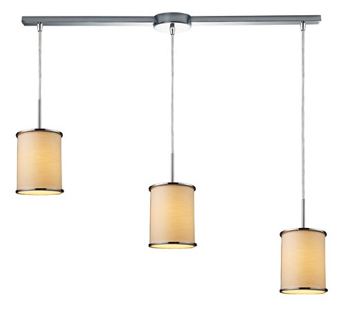 - Elk 20055/3L Fabrique 3-Light Linear Drum Pendants in Polished Chrome and Textured Beige Shade