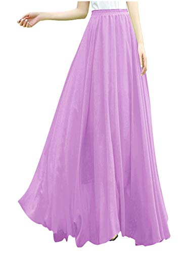 v28 Women Full/Ankle Length Elastic Retro Maxi Chiffon Long Skirt (XS,Lavender) ()
