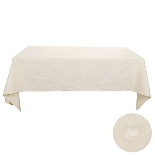 Deconovo White Linen Tablecloth Cotton Soft Waterproof Rectangle Tablecloths 60 x 102 Inch Tapioca
