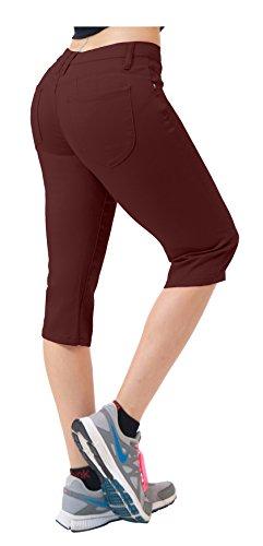Capri Brown Apparel (Women's Butt Lift Super Comfy Stretch Denim Capri Jeans Q43308 Brown 15)