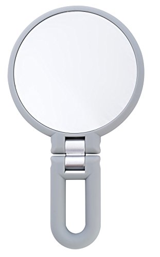 Danielle Creations Soft Touch Gray Folding Hand Held Mirror, 15X Magnification by Danielle