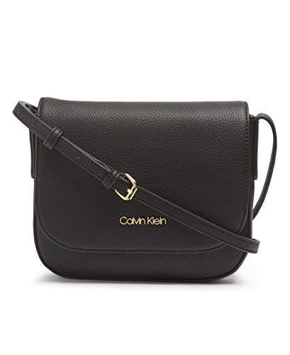 Calvin Klein Rachel Vegan Leather Small Flap Crossbody, Black/Gold