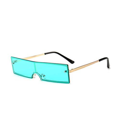 Futuristic Cyclops Monoblock Shield Mirrored Sunglasses (Gold, Green) -