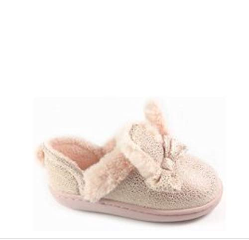 Bunny Ears Toddler Girls Slippers & Bow - Pink Glitter Sparkle & Sherpa Lining - Indoor/Outdoor Sole (Toddler 5-6)