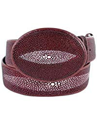 - Original Burgundy Single Pearl StingRay Skin Western Style Belt