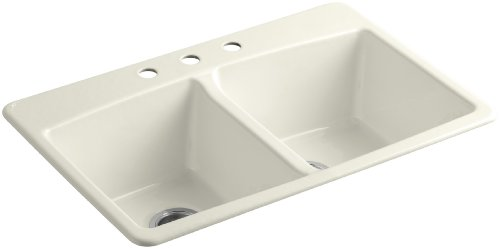 KOHLER K-5846-3-96 Brookfield Top-Mount Double-Equal Bowl Kitchen Sink with 3 Faucet Holes, Biscuit