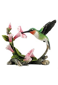 - 5.75 Inch Ruby Throated Hummingbird Statue Figurine, Pink and Green by Unknown