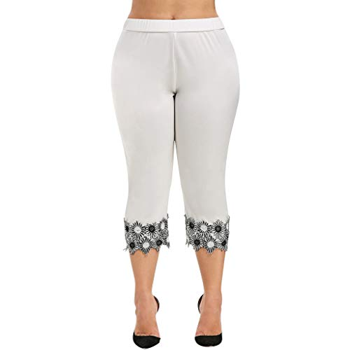 Workout Yoga Hot Shorts,Fashion Women Casual Elastic Waist Plus Size High Waisted Applique Leggings Pant White