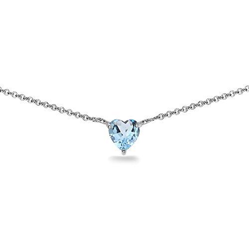 Sterling Silver Blue Topaz 7x7mm Heart Shaped Dainty Choker Necklace