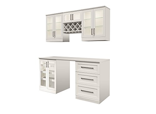 NewAge Products Inc. NewAge Products Home Bar Espresso 6 Piece Cabinet Set, 60052, White