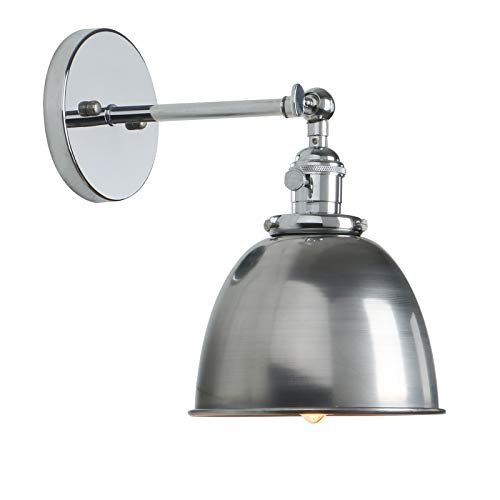 Permo Polished Chrome 6.3-Inch Metal Dome Shade Vintage Industrial Wall Sconce Lighting Fixture (Varnish Finish) (Switch Chrome Dimmer)