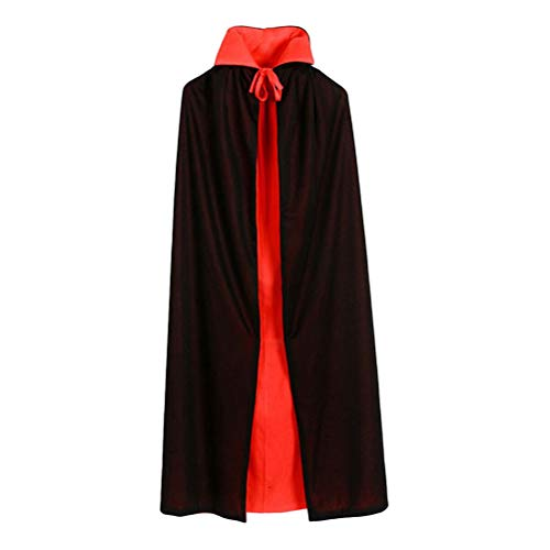 Toyvian Vampire Cloak Double Layer Black and Red Hooded Cloak Vampire Costume Cosplay Cape Dress Up for Boys and Girls (90cm Straight Collar Double -