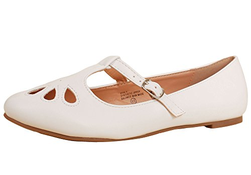 1 Retro Teardrop T-Strap Flat (8, White) ()