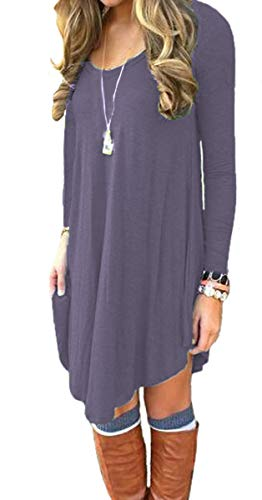 DEARCASE Women's Long Sleeve Casual Loose T-Shirt Dress Purple Gray Large