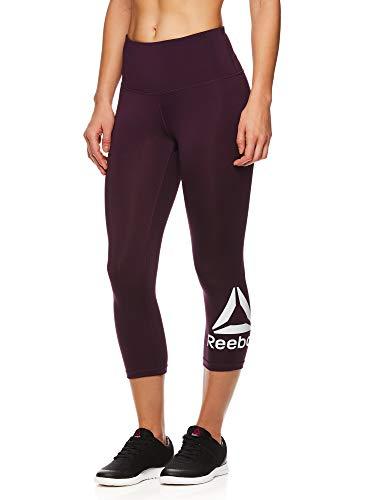(Reebok Women's Capri Leggings w/High-Rise Waist - Cropped Performance Compression Tights - Wanderlust BlackBerry Wine, Medium)