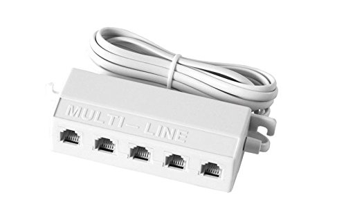 Tgom 5 Outlet Modular Jack Telephone Line Splitter with Cable White (Telephone Modem Adapter)
