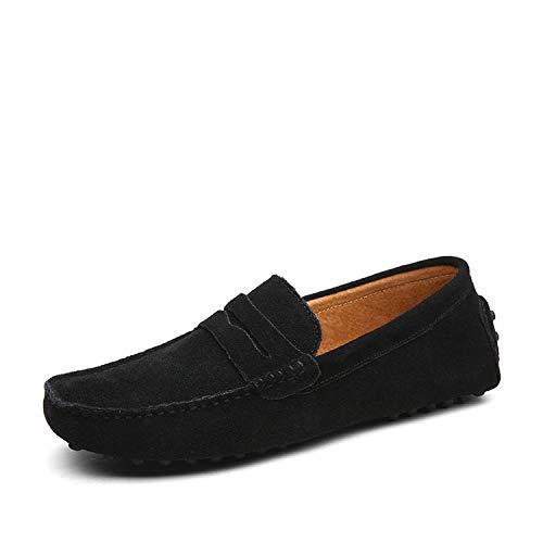 Men Casual Shoes Fashion Men Shoes Genuine Leather Men Loafers Moccasins Slip On Men's Flats,01 Black,9.5