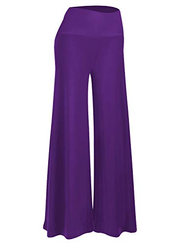 (Arolina Women's Stretchy Wide Leg Palazzo Lounge Pants (X-Large, Purple))